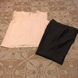 LOFT all over lace cream sleeveless blouse S